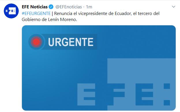 厄瓜多尔副总统辞职 系莫雷诺政府第3位辞职的副总统
